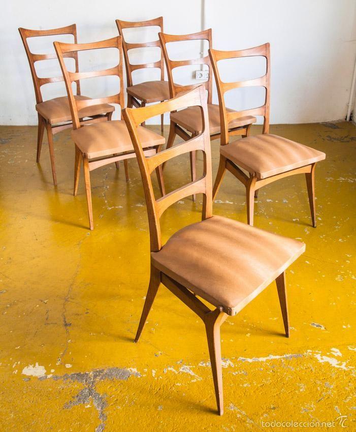 Conjunto de 6 sillas francia a os 60 vintage muebles la eslovena pinterest sillas - Muebles anos 60 ...