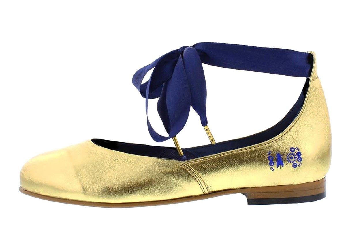 8faeece68ad179 Fly London Cristina Rodrigues Dwell 02 Gold Leather Ankle Strap Flat Shoes