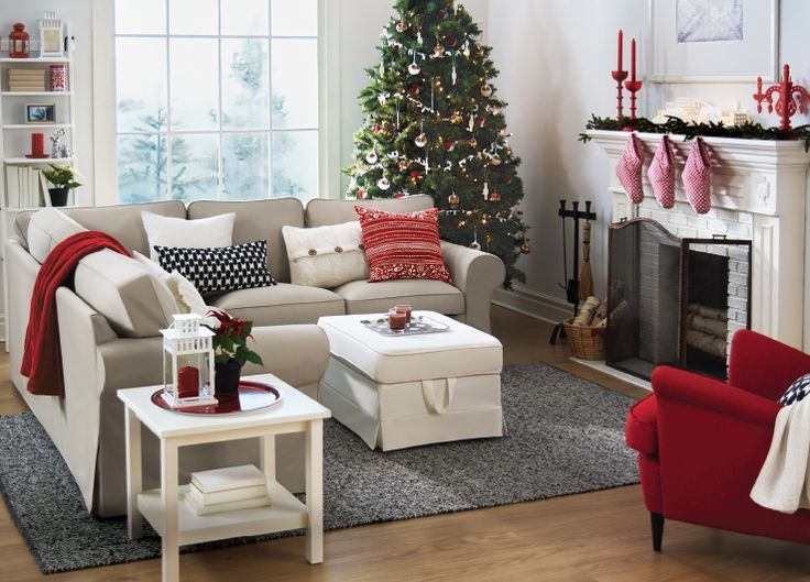 Red and white Christmas living room from Ikea with beige Ektorp
