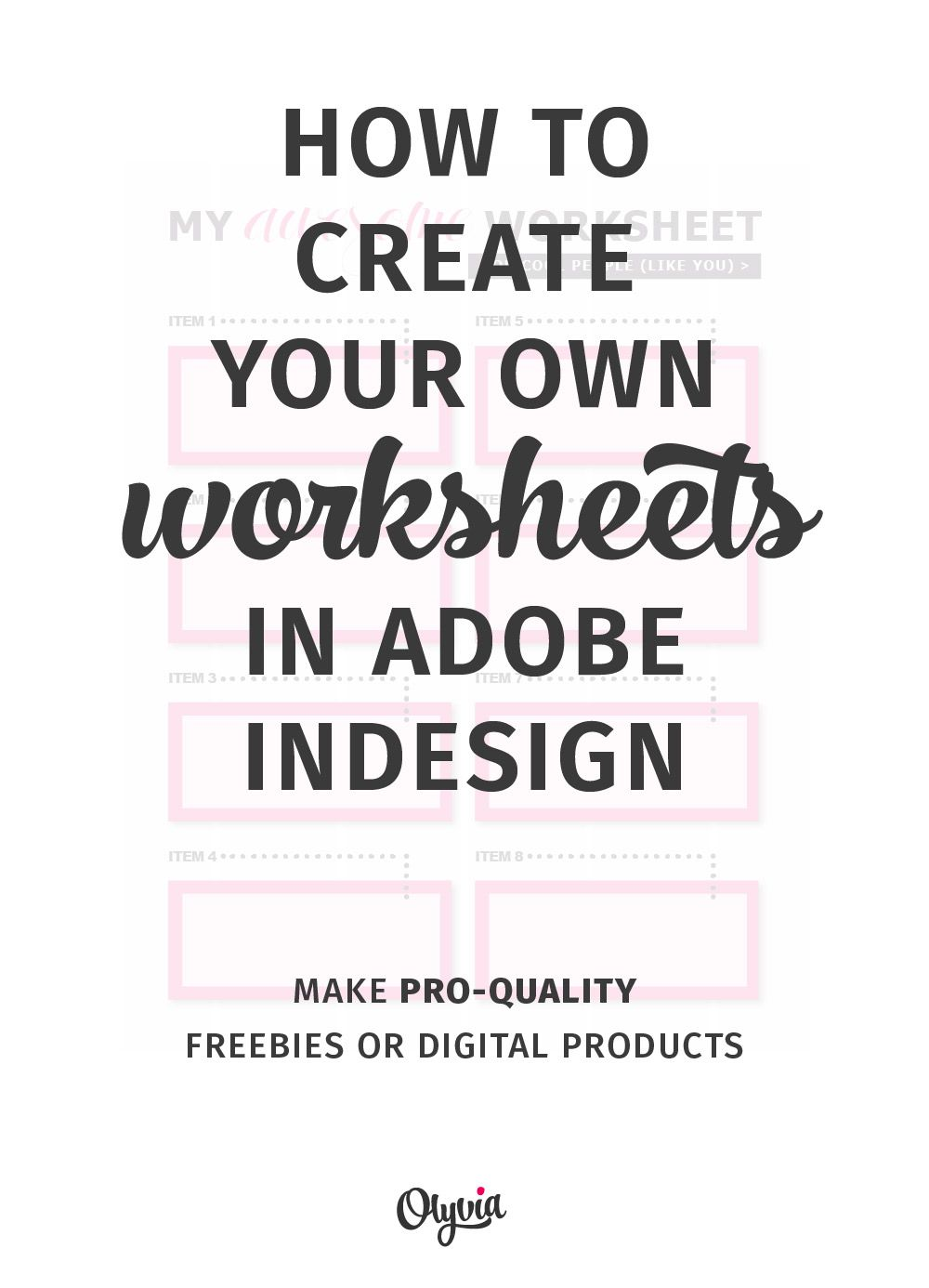 How To Create Your Own Worksheets In Adobe InDesign | Adobe indesign ...