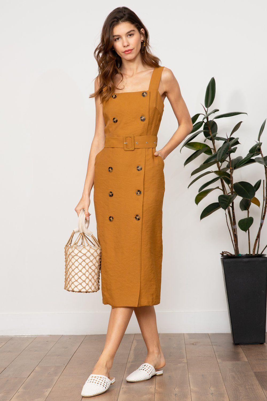 Lucy Paris Amber Double Button Dress Tan Dresses Resort Mod Modern Chic Elegant Dresses For Women Simple Short Dresses Fashion [ 1500 x 1000 Pixel ]