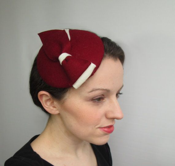 9f3d1cbad4ef9 Red fascinator hat handmade in pure wool felt. A double bow in contrasting red  WINE