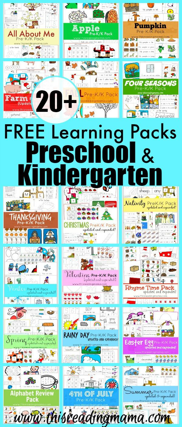 20+ FREE Learning Packs for Preschool and Kindergarten ...
