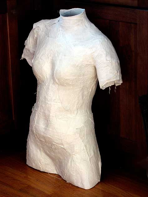 Use plaster bandages used to make a dress form  A great way