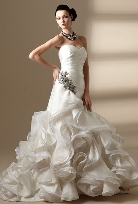 brides jasmine couture strapless sweetheart neckline with v back asymmetrical gathered waist