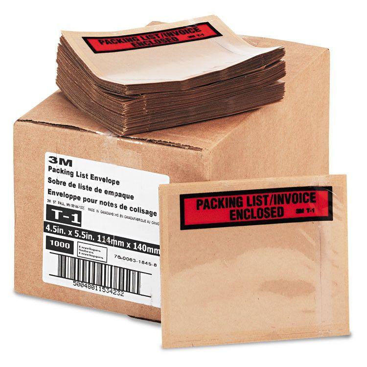 Top Print Self-Adhesive Packing List Envelope, 4 1/2 X 5 1/2, White, 1000/box