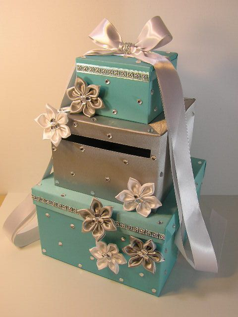 Wedding Card Box Blue And Silver Gift Money Holder Customize Your Color