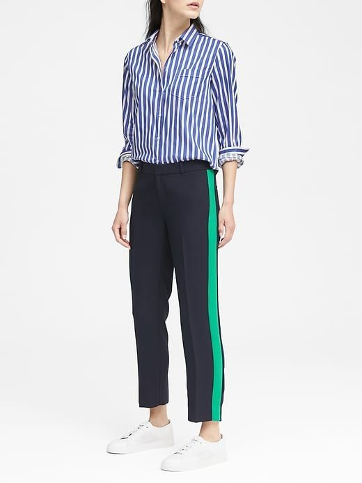 e19df676d0c1 Banana Republic Womens Petite Avery Straight-Fit Side-Stripe Pant Navy With  Emerald Stripe