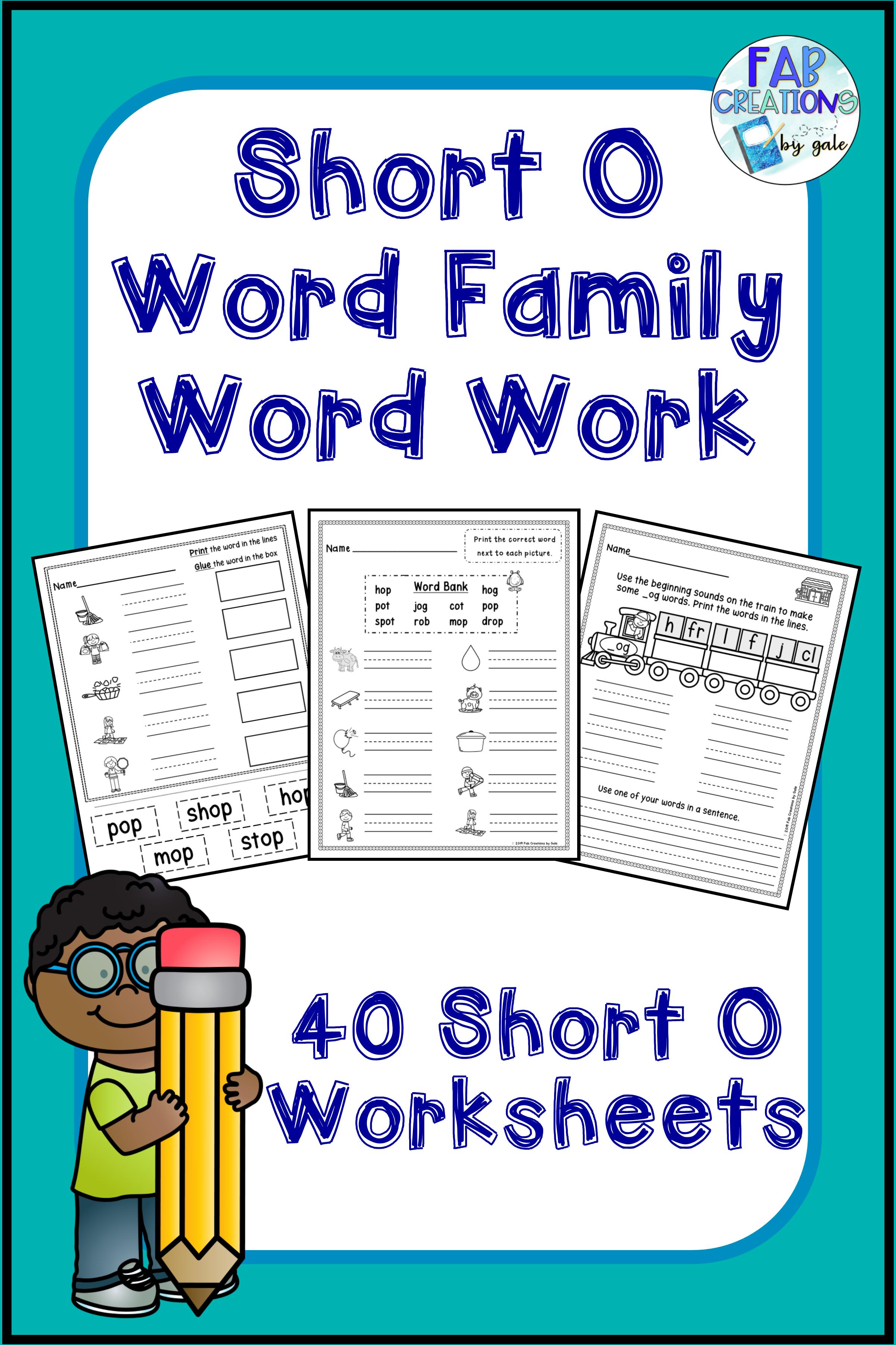 Short O Cvc Word Family Worksheets