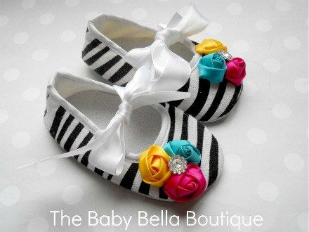 Zebra Baby Girl Crib Shoes Baby by TheBabyBellaBoutique on Etsy, $16.95
