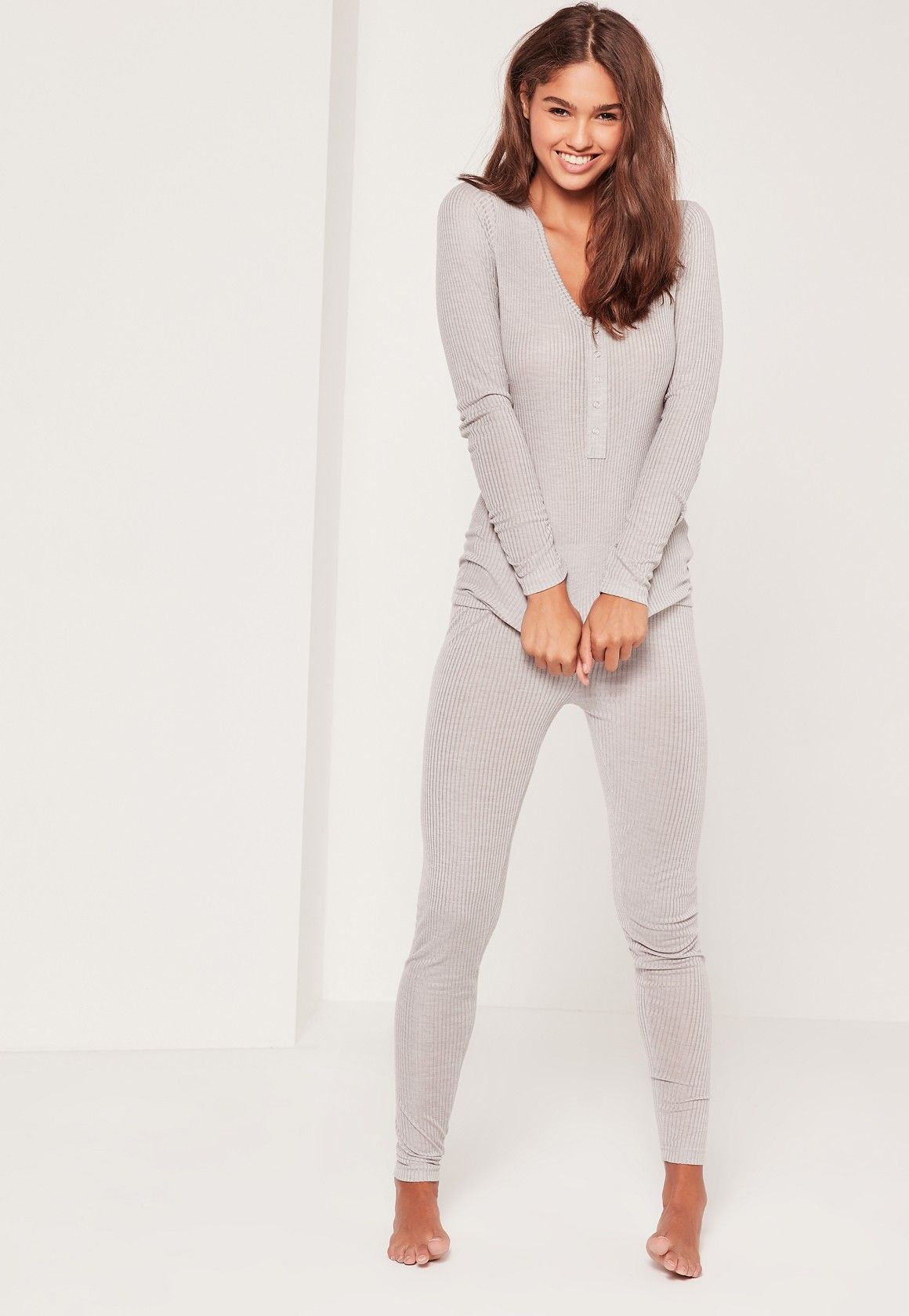 d5c57a2ea112 Missguided - Ribbed Top and Legging Pj Set Grey