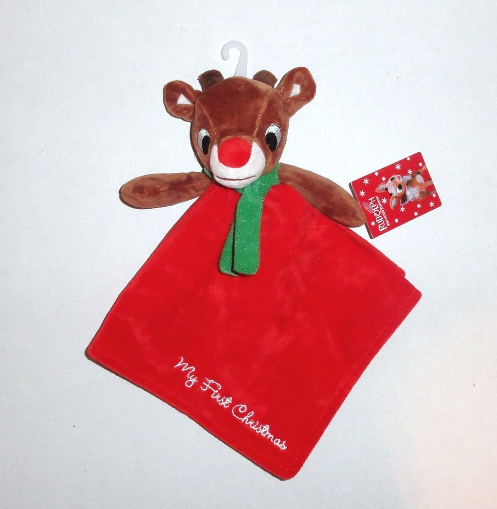 """New Rudolph Red Nosed Reindeer Baby Security Blanket """"My"""