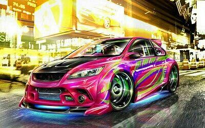 Pretty neon pink,purple,green car Cool sports cars, Cool