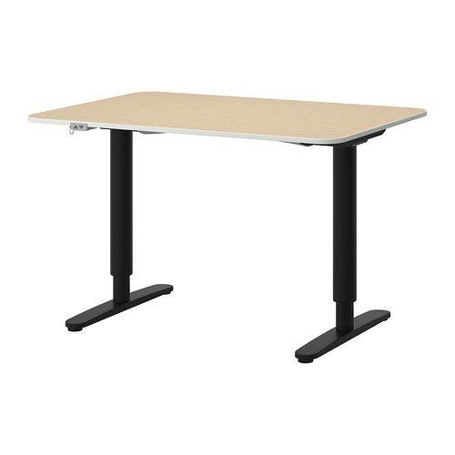 BEKANT Desk sit/stand, birch veneer, white