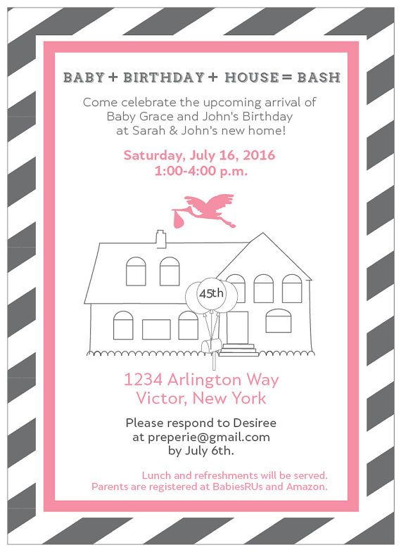 Housewarming and Baby Shower Invite Gender Reveal Invitation New