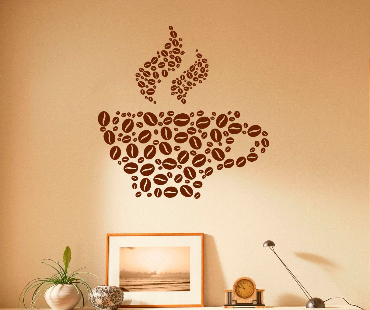 Coffee Cup Wall Decal Coffee Beans Vinyl Stickers Cafe Interior Home ...