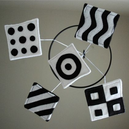 black and white shapes mobile
