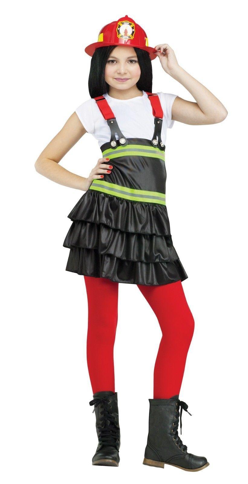 Girls Firefighter Costume Fire Girl Woman Child Kids Fancy Dress Hat  Halloween d07a25182aa