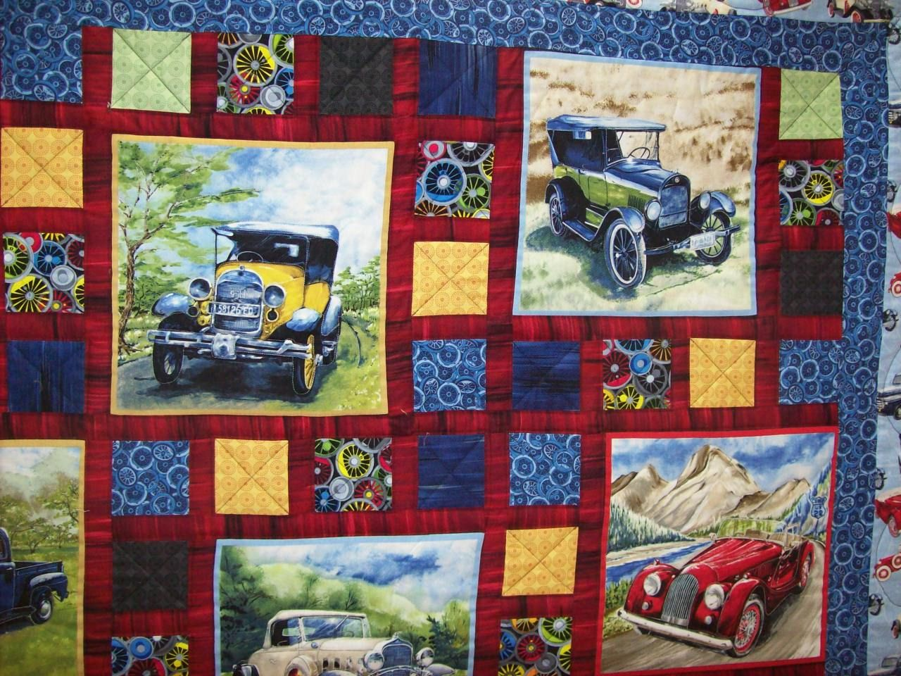 Vintage car quilt nice setting blocks for a feature for Fabric with trains pattern