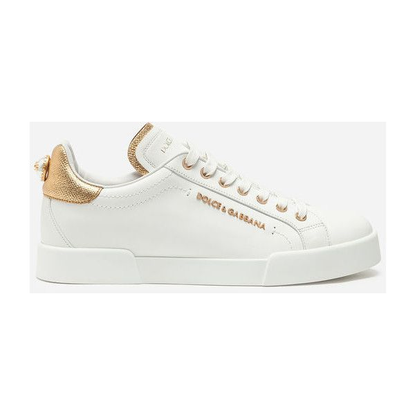 Dolce & Gabbana Sneakers - LEATHER SNEAKERS WITH LOGO BEAD