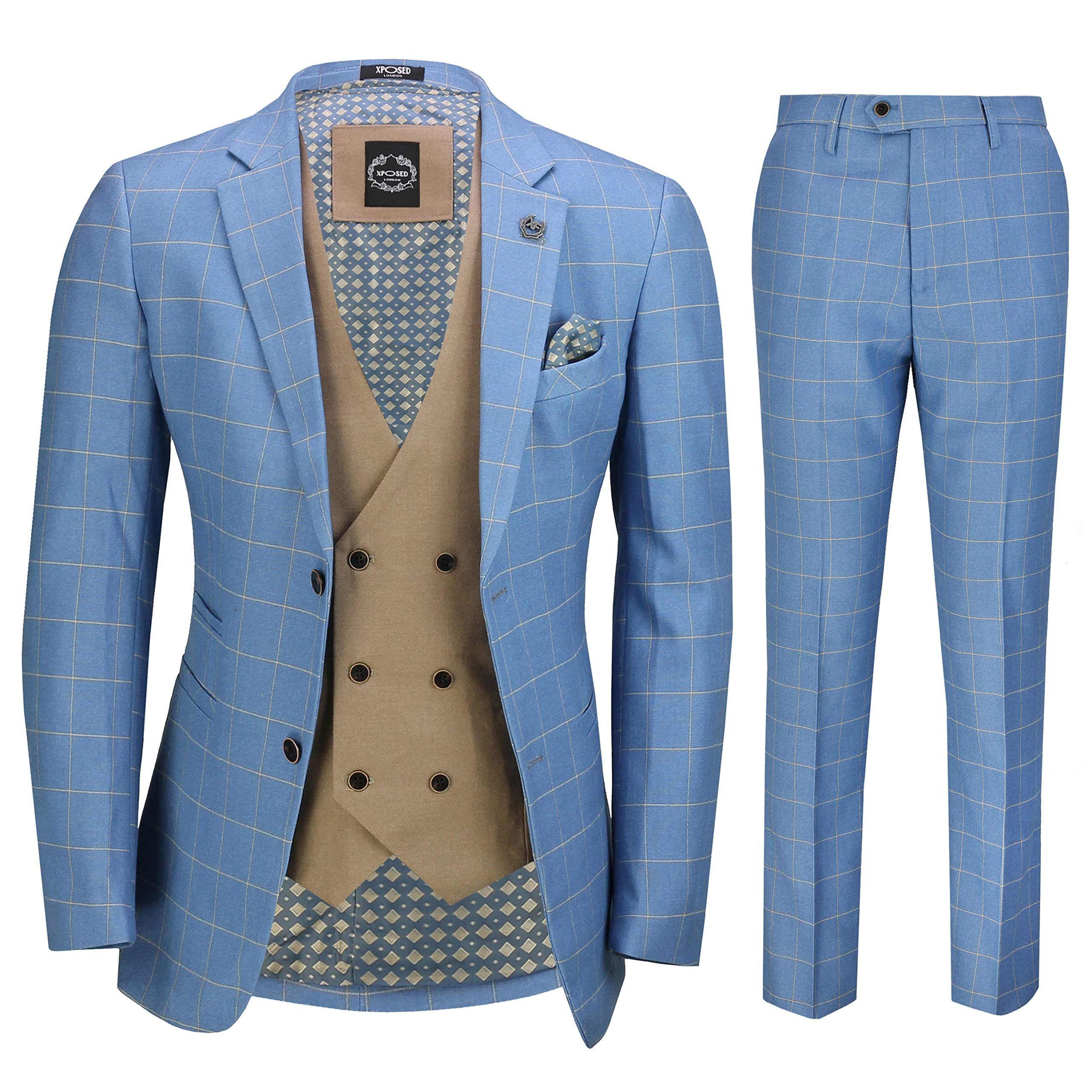 Xposed Herren 3 Stück Sky Blau Windowpane Karierte Anzug