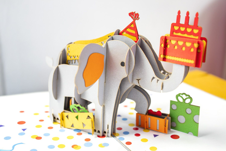 Happy Birthday Elephant Pop Up Card In 2020 Happy Birthday Elephant Wholesale Greeting Cards Pop Up Cards