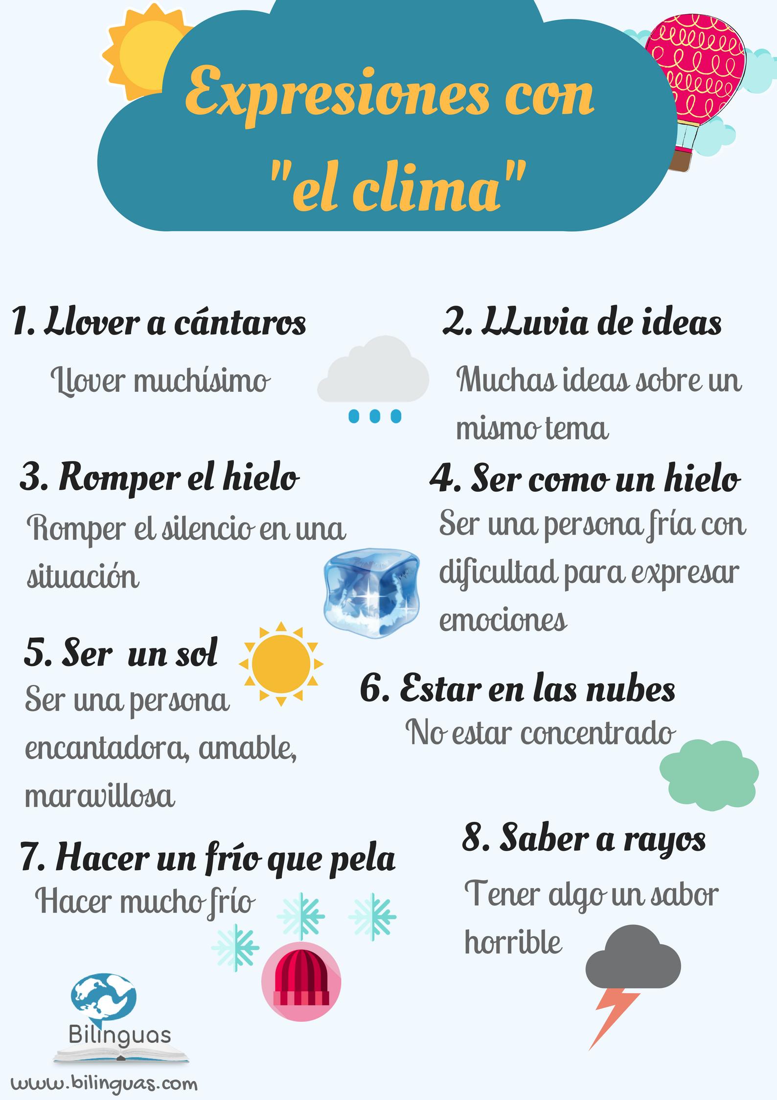 Hablar Del Tiempo Es Un Tema Frecuente Entre Españoles Por Eso Hay Muchas Expresiones Expresiones En Español Aprender Español Ejercicios Para Aprender Español