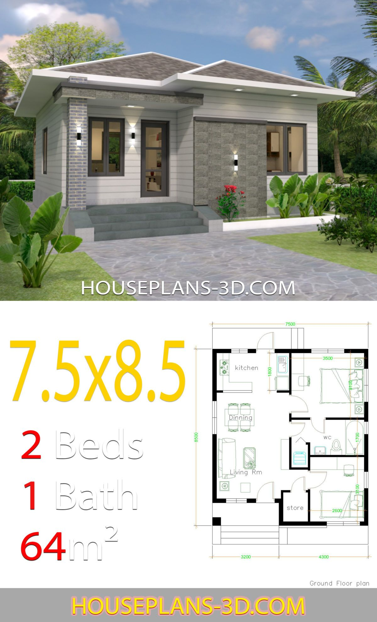 House design 7.5x8.5 with 2 bedrooms House Plans 3D in