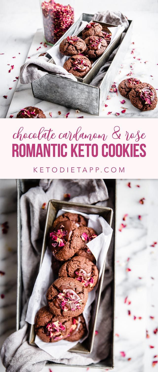 These keto chocolate cardamom cookies are decorated with a drizzle of dark chocolate ganache and rose petals. #keto #lowcarb #glutenfree #sugarfree #valentinesday #dessert