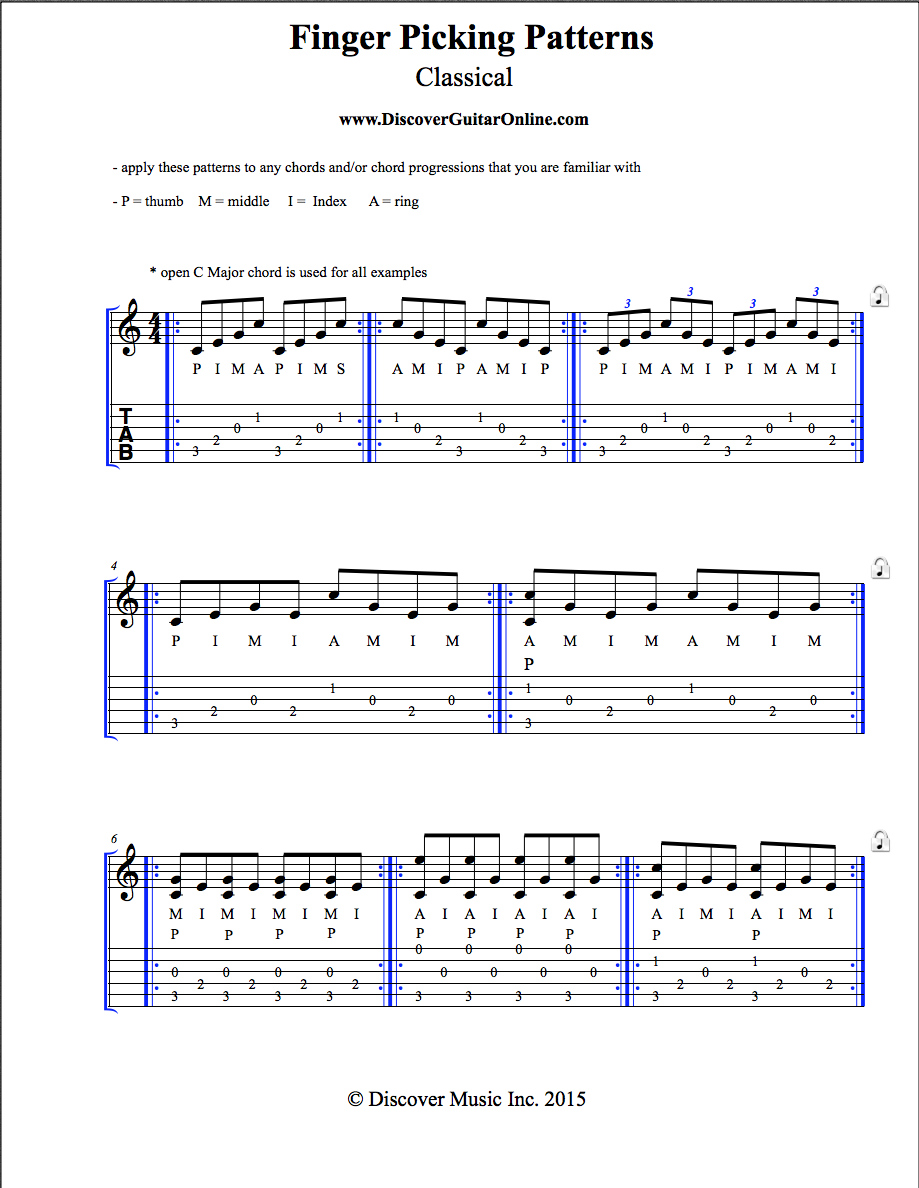 Finger Picking Patterns: Classical | Discover Guitar ...