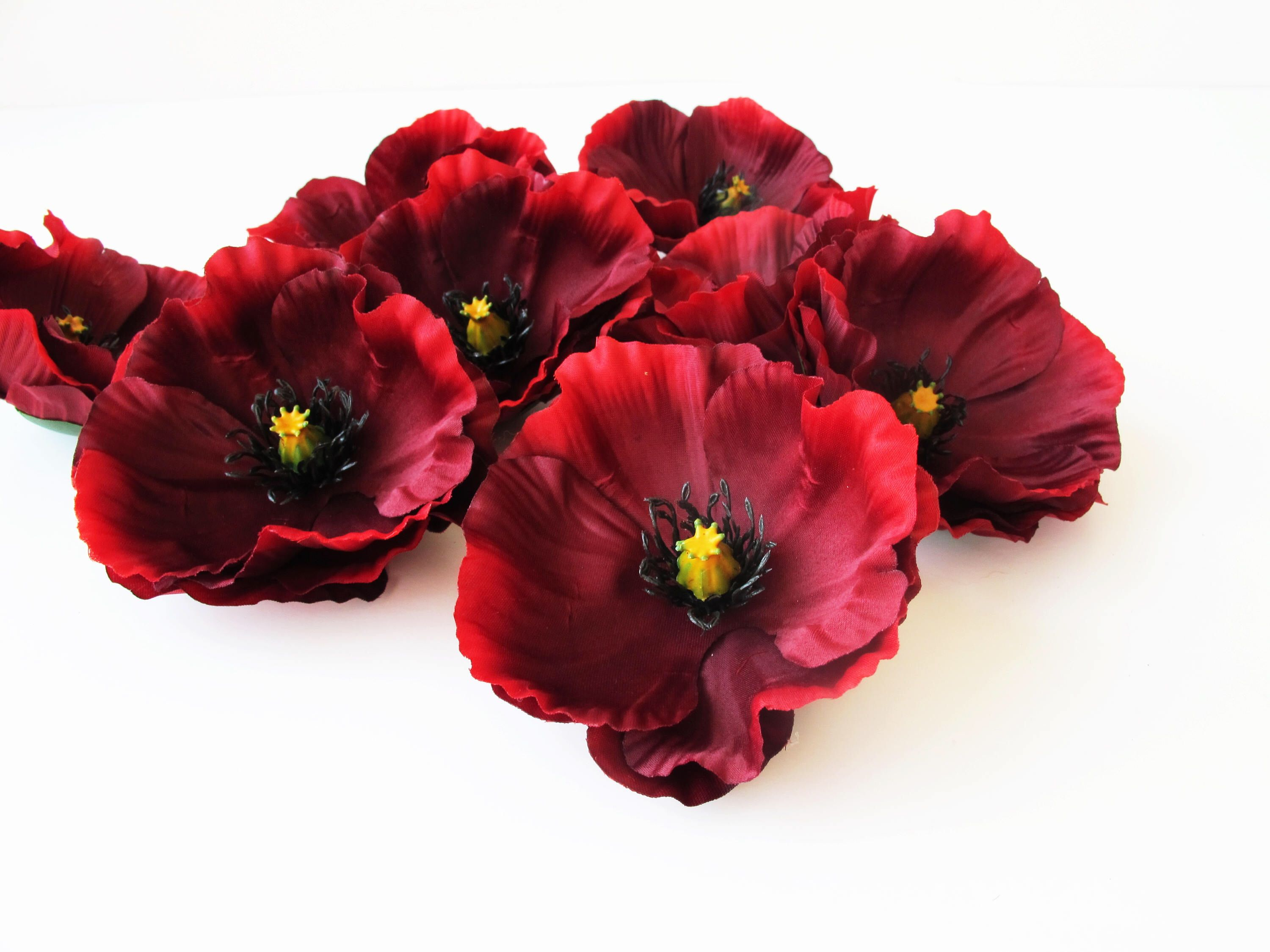 10 Dark Red Poppies Burgundy Artificial Flowers Silk Poppy 4 Flower