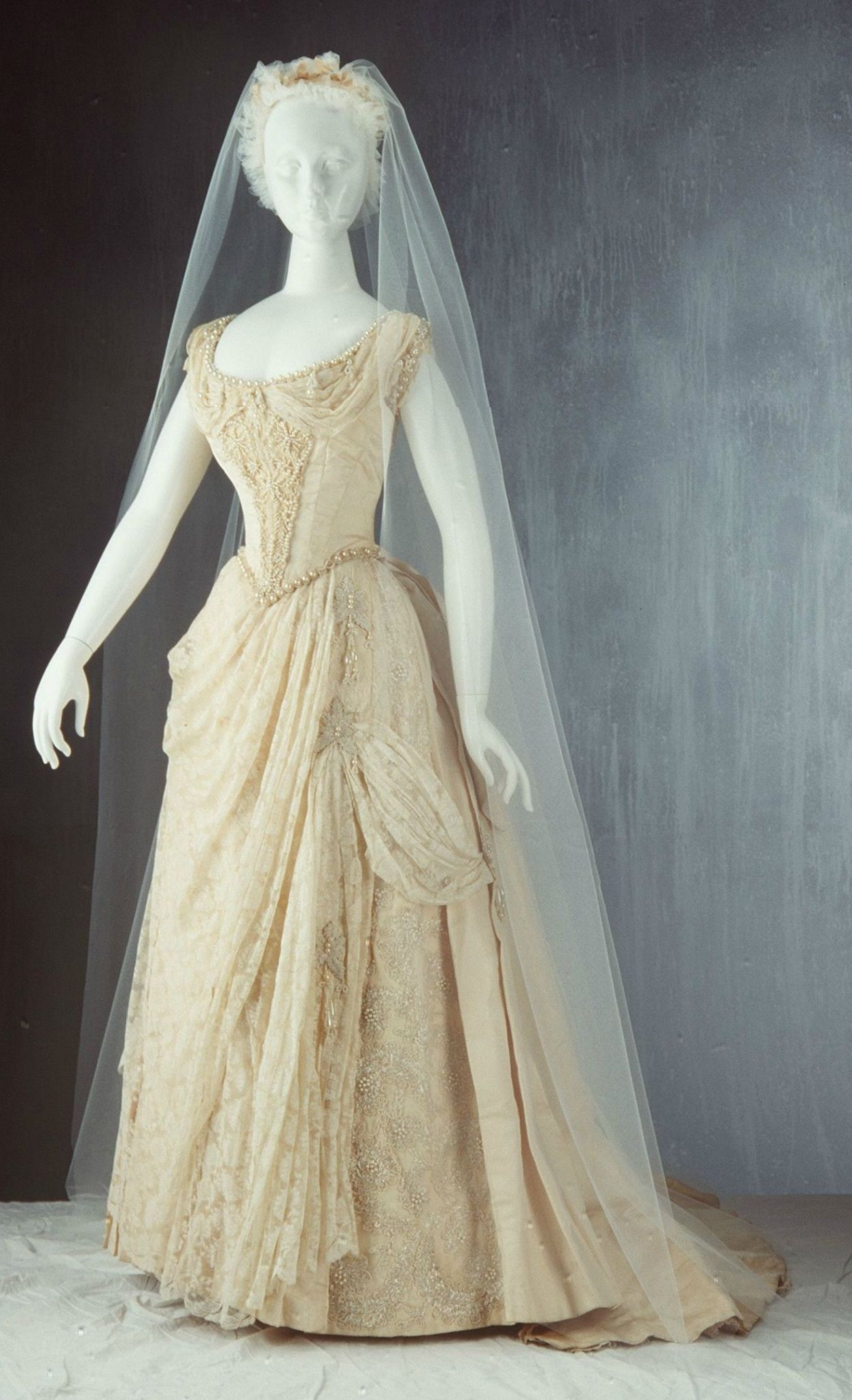 Wedding Dress: 1887, Australian, Silk Faille With Machine Made Valencienne  Style Lace Trim, Heavily Beaded With Large U0027pearlsu0027 And Small Glass Beads.