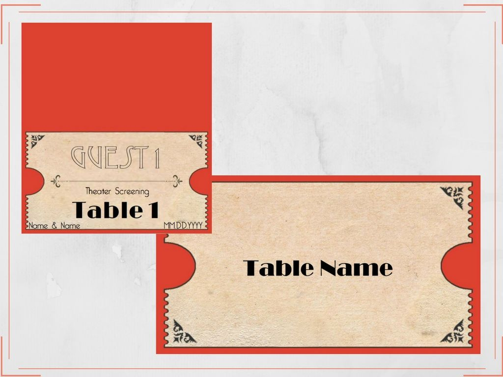 Fiesta Red And Gold Textured Old Hollywood Movie Ticket Place Card And Table Name Card Set Ask About All The O Table Name Cards Cards Sign Movie Theme Wedding