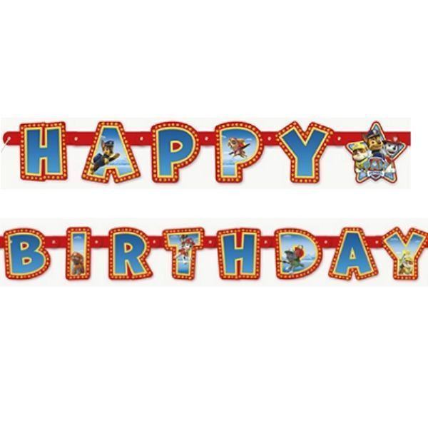 PAW PATROL Happy Birthday Jointed BANNER DECORATIONS Party Supplies Decor Prop