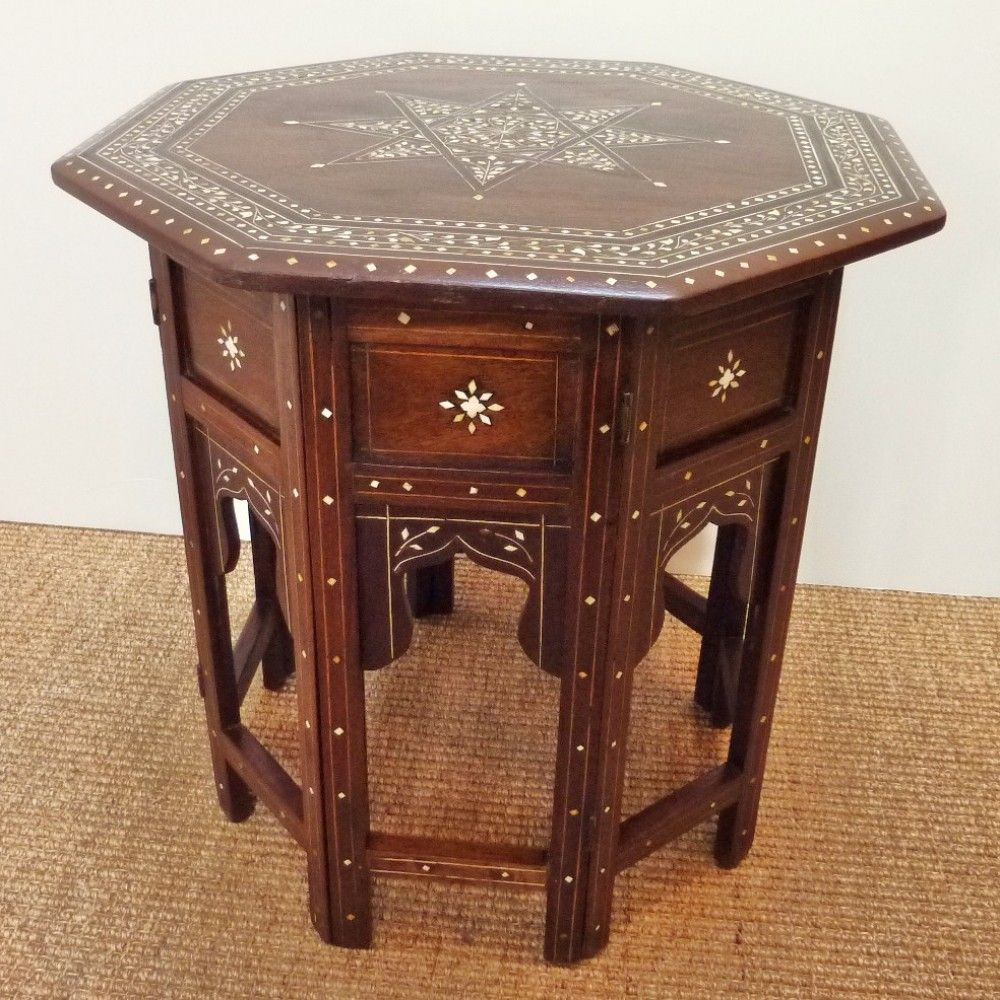 #Anglo Indian Octagonal #Rosewood Folding Side Table With Star Pattern  Ivory Inlay