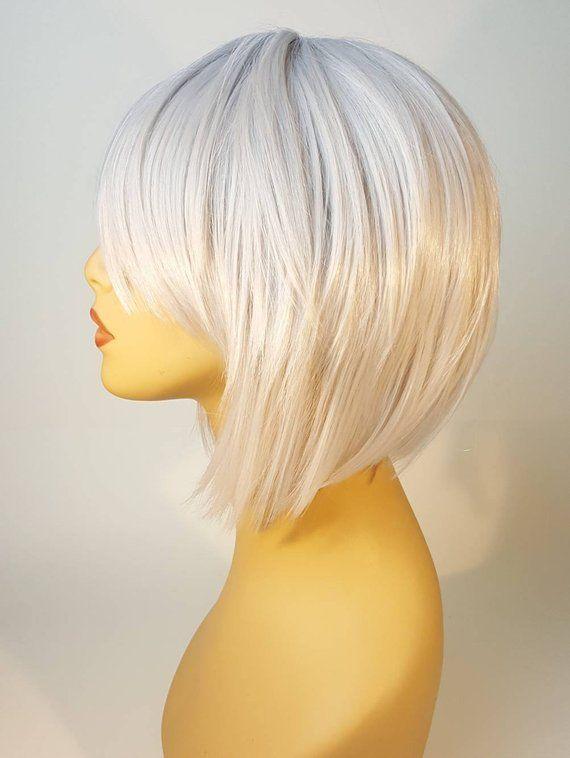 Short Platinum Blonde Wig Shaggy Layered Bob Silver Blonde Bob