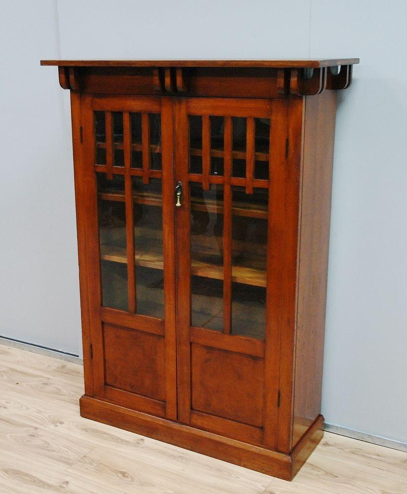 Antique arts and crafts furniture - Antique Arts Crafts Kauri Pine Blackwood Bookcase Display Cabinet C1920s Ebay