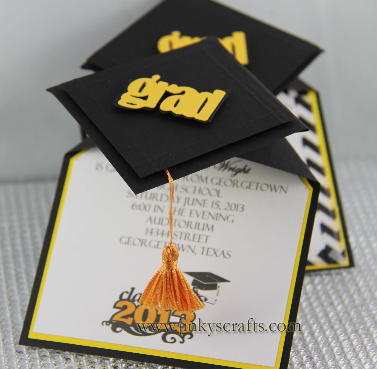 Jinkys Crafts Designs 3D Graduation Cap Pop Up Invitations