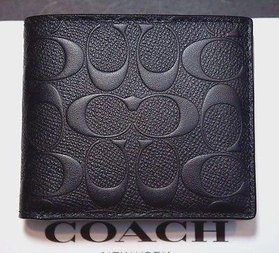 1c6843618b NWT Coach $185 Men's Signature Black Crossgrain Leather Compact ID ...