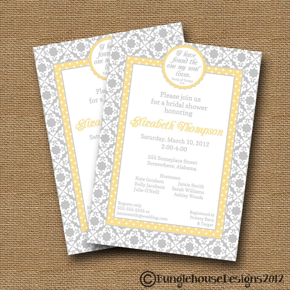Damask wedding invitation scripture bridal shower invite