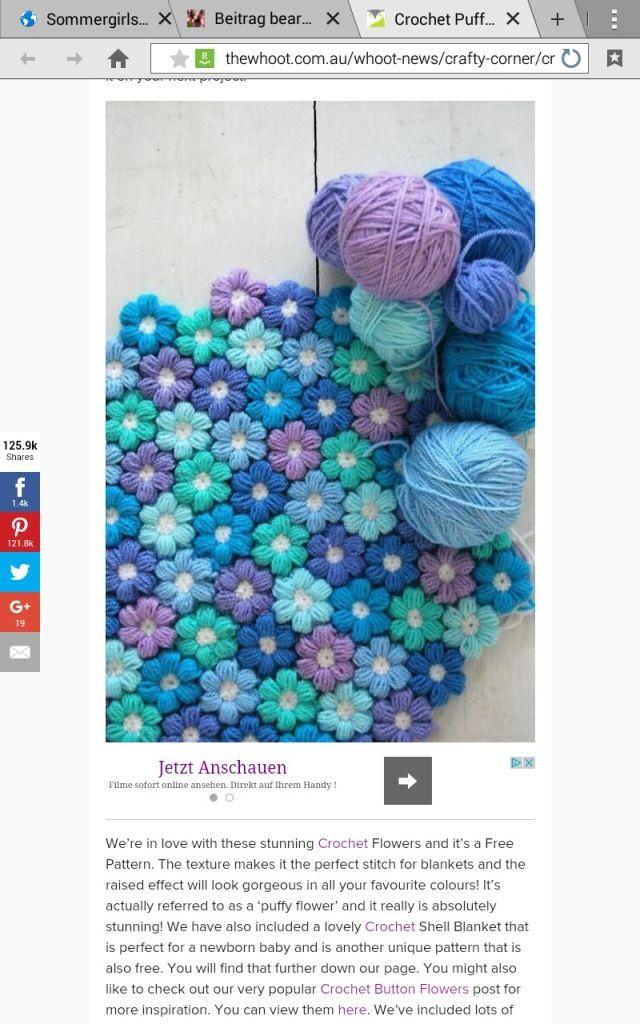 Blog Sommergirls DIY Babydecke blümchen häkeln blütenmeer Blüten ...