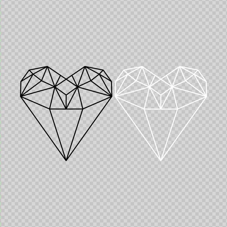 Geometric Heart Line Heart Diamond Heart Png Valentines Etsy Geometric Heart Geometric Tattoo Color Diamond Heart Tattoo
