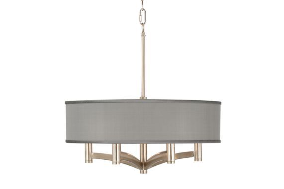 Gray Faux Silk Nickel 20-Inch-W Pendant Chandelier