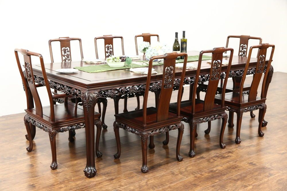 Chinese Rosewood Vintage Dining Set, Table, 8 Chairs, Hand Carved Grapevine  ~