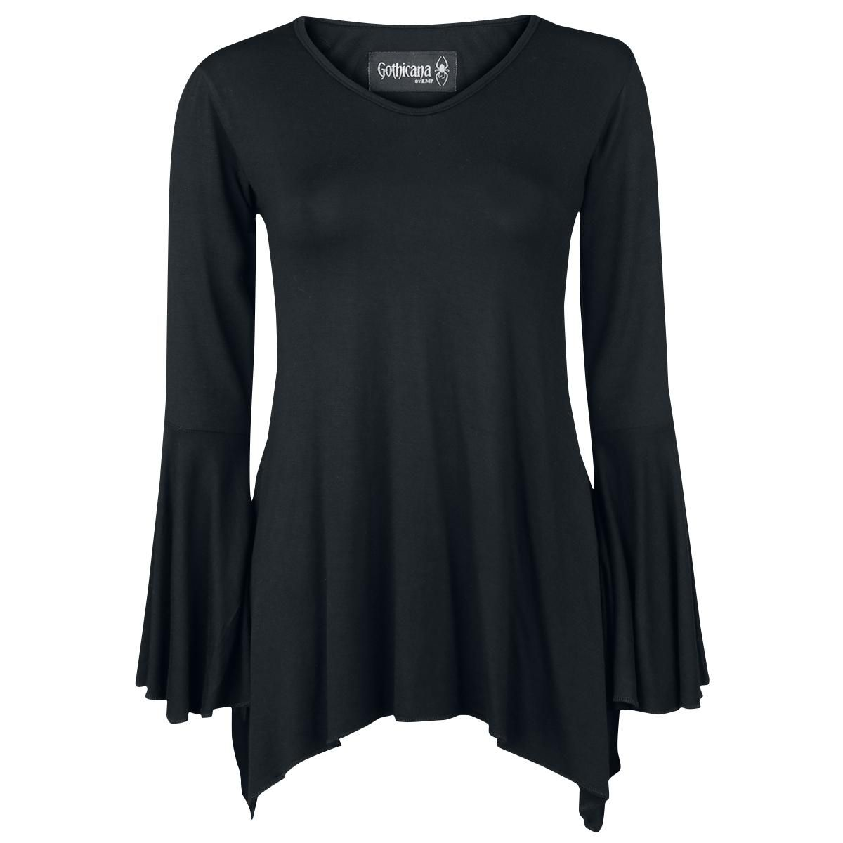 Erityisen pitkässä pitkähihaisessa paidassa on trumpettihihat. Tämä Gothicana by EMP:n Bat Longsleeve -paita toimii myös lyhyenä mekkona ja sen helma laskeutuu kauniisti.