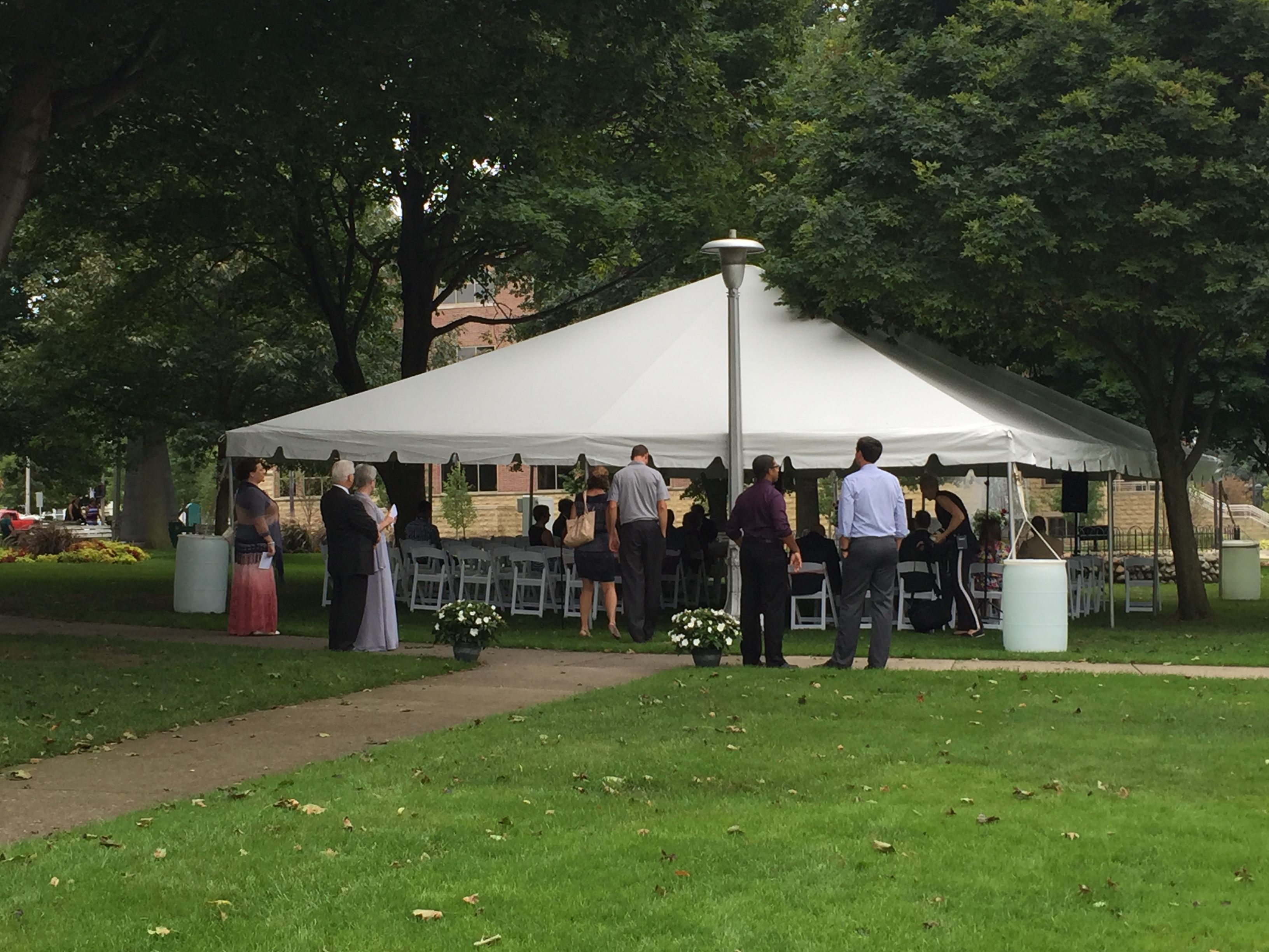 30x40 White Frame Tent used for a Wedding at Central Park in Grand Haven Mi & 30x40 White Frame Tent used for a Wedding at Central Park in Grand ...