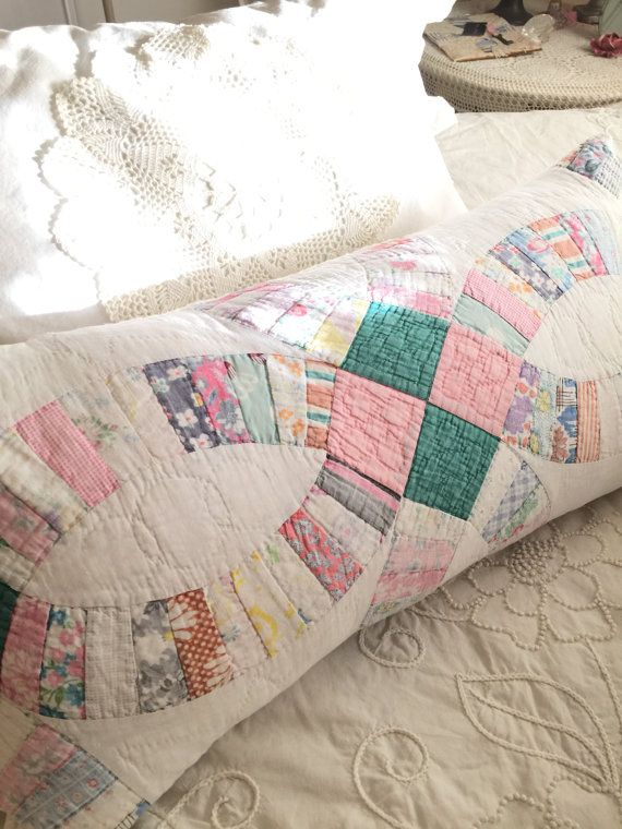 Vintage Wedding Ring Quilt Bolster / Fearher Pillow 26 by TWFaith