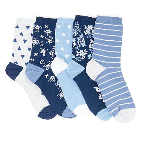John Lewis Children S Floral Print Socks Pack Of 5 Multi Socks Floral Prints Girls Socks