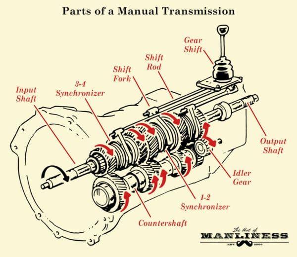 Parts Of A Manual Transmission Illustration Diagram Manual Transmission Transmission Gear Head