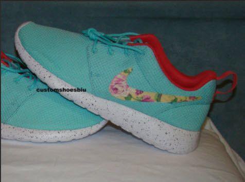 9f9cdfab14b0 Custom Nike Roshe Run- Aqua NIKE Roshe Run Yellow Floral Print